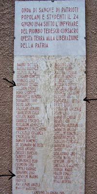 Gedenktafel in Capolapiaggia